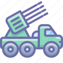 military, missile launcher, rocket icon