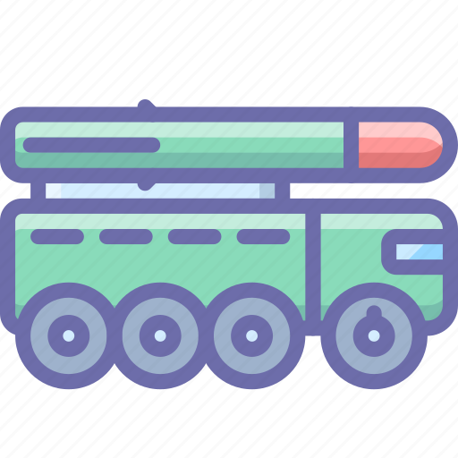 military, missile launcher, rocket, truck icon