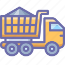 bulk, construction, gravel, sand, transport, truck, vehicle icon