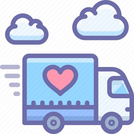 delivery, happy, love, shipping, truck icon