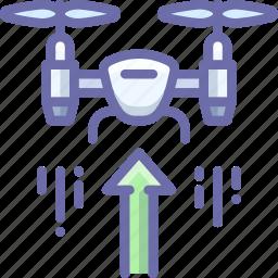 drone, quadcopter, raise, up icon