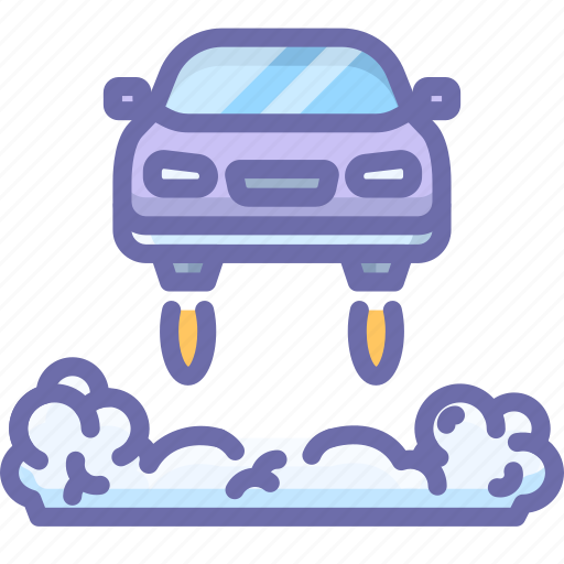 car, flying, future icon