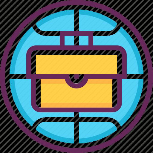 briefcase, business, company, global, globe, international, world icon