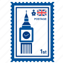 big ben, british, england, kingdom, london, stamp, united icon