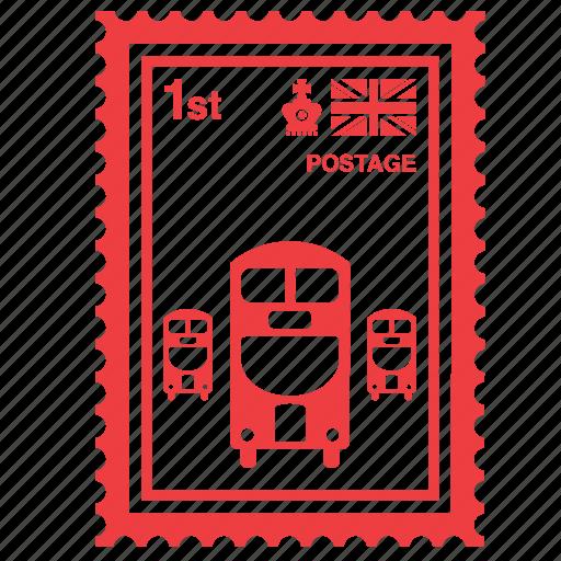 bus, england, english, kingdom, london, stamp, united icon