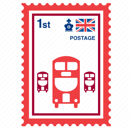 british, bus, england, kingdom, london, stamp, united icon