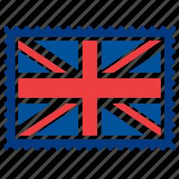 british, england, flag, kingdom, london, stamp, united icon