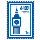 big ben, england, english, kingdom, london, stamp, united icon