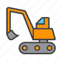 crawler, digger, excavator, heavy icon