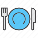 dishware, food, fork, knife, plate icon