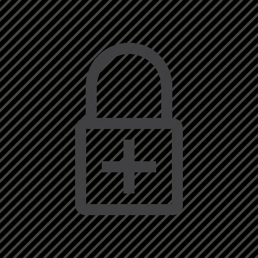 add, lock, password, plus icon