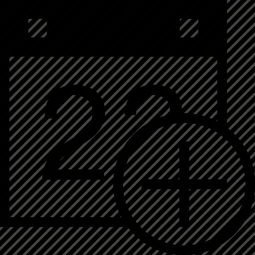 add, calendar, date, event, increase, more, schedule icon