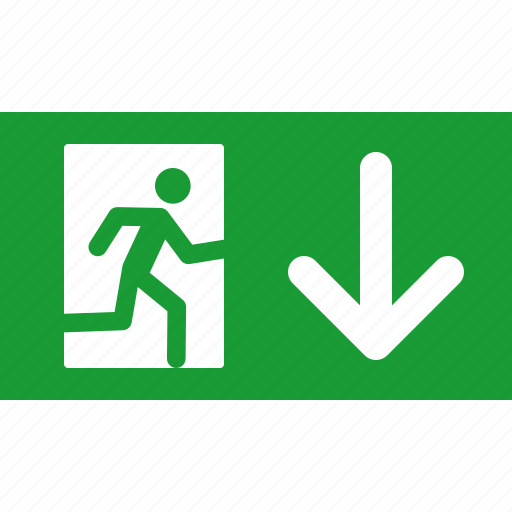 arrow, down, emergency, exit, green, out, sign icon