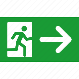 arrow, emergency, exit, green, out, right, sign icon