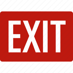 door, emergency, exit, leave, out, red, sign icon