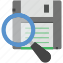find floppy disk, floppy, magnifying, memory disk, search floppy