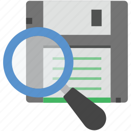 find floppy disk, floppy, magnifying, memory disk, search floppy icon
