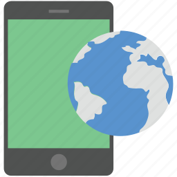 globe, map, mobile, mobile globe, mobile phone icon