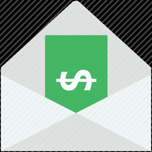 dollar, dollar in envelop, envelope, mailbox, money icon