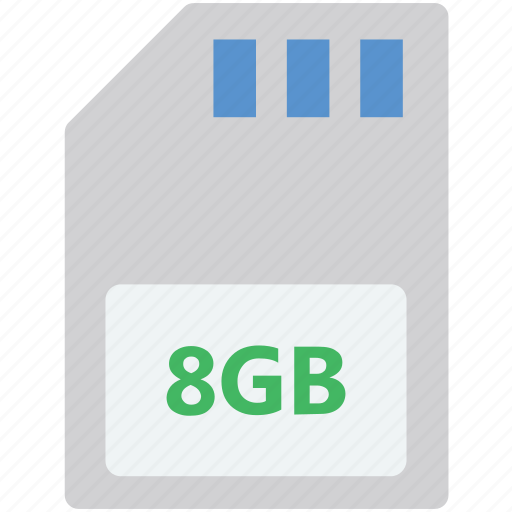 8gb card, chip card, memory card, sd card, storage card icon
