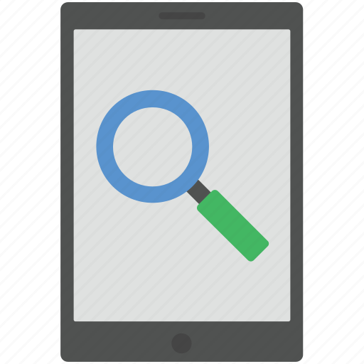 magnifier, magnifying glass, mobile, search, search date icon