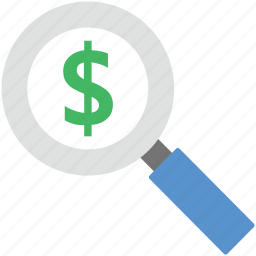 dollar, find dollar, magnifier, magnifying glass, search dollar icon