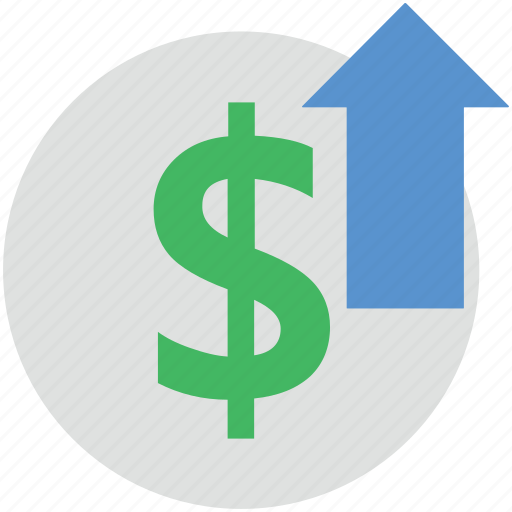 dollar up, dollar valuation, finance, up economy, up sign icon