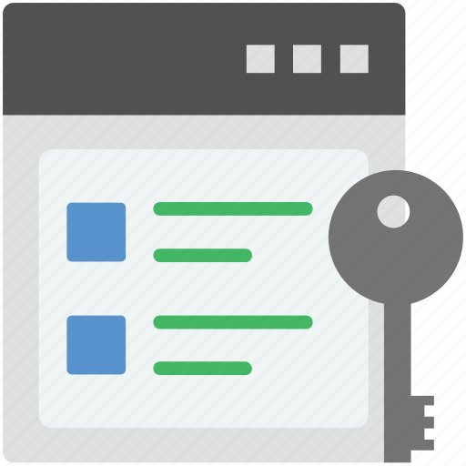 page lock, web key, web protection, website and key, website lock icon