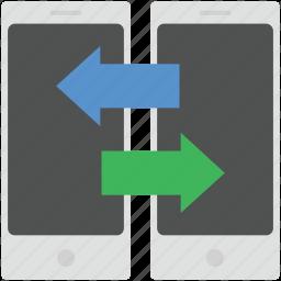 data transform, data transforming, folder with arrows, mobile, mobile data transfer icon