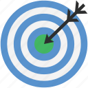 archery arrow, bullseye, dart, dartboard, target icon
