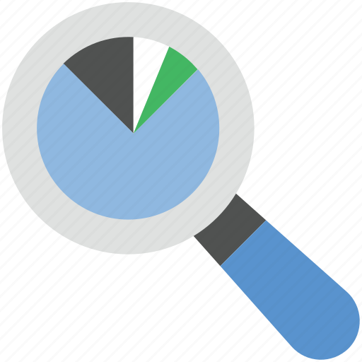 analysis, analytics, pie chart, search graph, search report icon