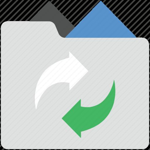 data transfer, data transform, data transforming, folder, folder with arrows icon