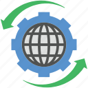 cog, globe, globe cogwheel, globe setting, map icon