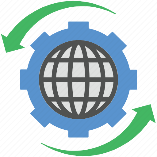 cog, globe, globe cogwheel, globe setting, map icon