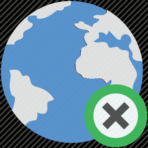 cancel globe, cross sign, globe, planet, remove globe icon