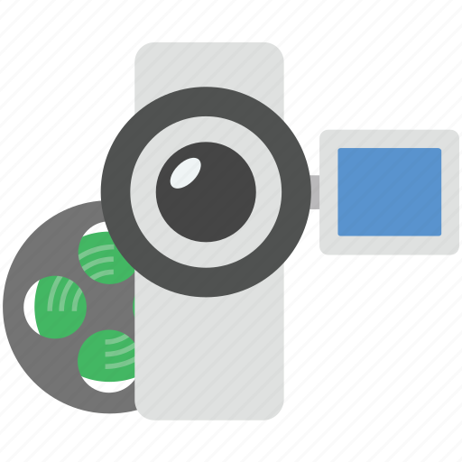 camcorder, device, reel with camcorder, video camera, video recording icon