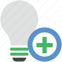 add bulb, add sign, electric bulb, illumination, light, light bulb icon