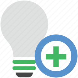 add bulb, add sign, electric bulb, illumination, light, light bulb icon