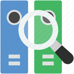 folder, magnifier, magnifying glass, search, search files icon