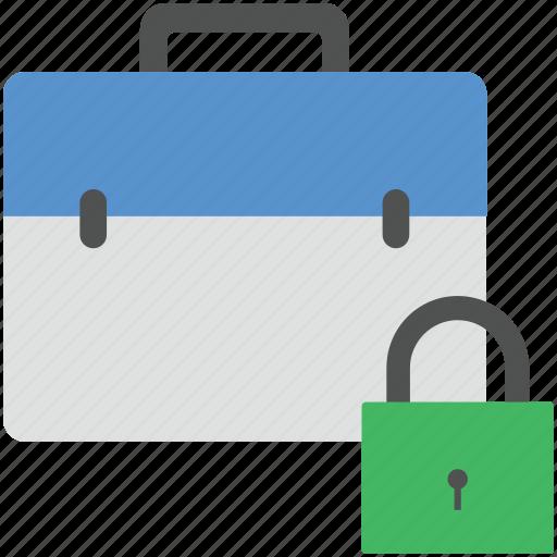 bag protection, briefcase and lock, briefcase with lock, portfolio lock, safe portfolio icon