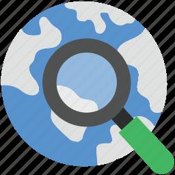 digital globe, global network, planet, search globe, searching map icon