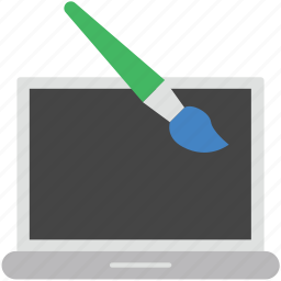 design, design brush, laptop, laptop pc, notebook icon