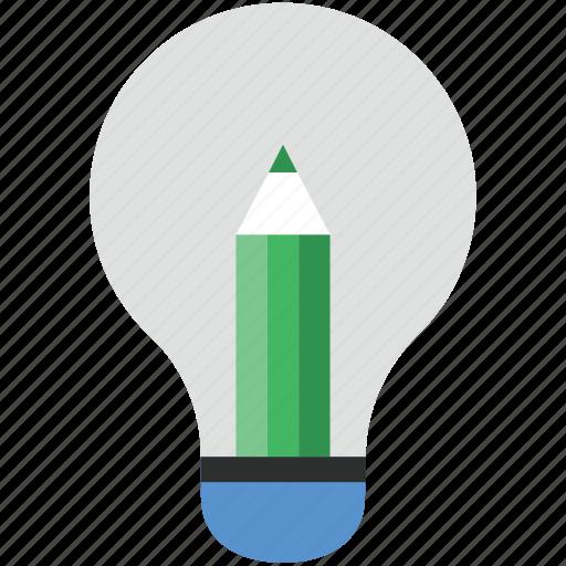 bulb, creative, creative mind, idea, pencil, pencil bulb icon