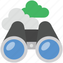 cloud binocular, cloud network, computing, field glass, spyglass icon