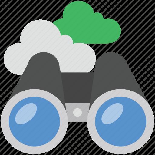 cloud binocular, cloud network, computing, field glass, spyglass icon