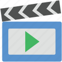 clapboard, clapper, clapper board, multimedia, time slate icon