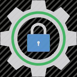 cog wheels, gears, lock, locked cog, padlock icon