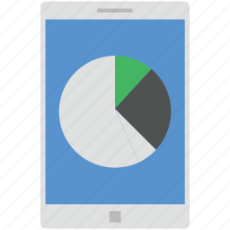business, mobile graph, mobile pie chart, online graph, pie chart icon