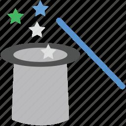 hat, magic trick, magic wand, magician cap, magician hat icon