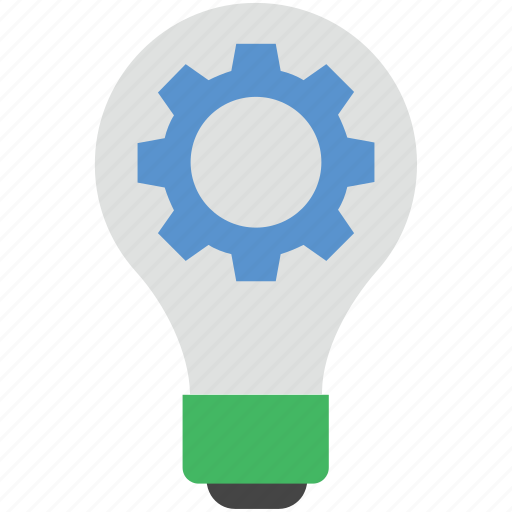 bulb setting, cog with bulb, cogwheel, creative, idea icon